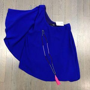 NWT Ariella One Shoulder Asymmetrical Blue Top